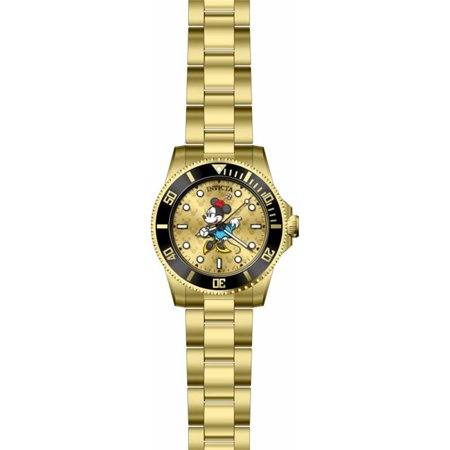 Invicta 29676 Womens Disney Quartz 3 Hand Gold Dial Watch