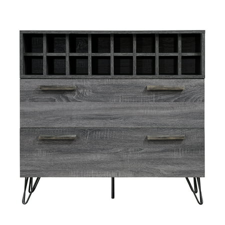 Annabelle Mid Century Finished Faux Wood Wine and Bar Cabinet, Sonoma Grey Oak