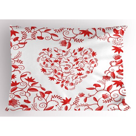 Frame Pillow - Valentines Day Pillow Sham Paisley Floral Details with Leaves and Roses in a Shape of Heart Frame Image, Decorative Standard Size Printed Pillowcase, 26 X 20 Inches, Red, by Ambesonne