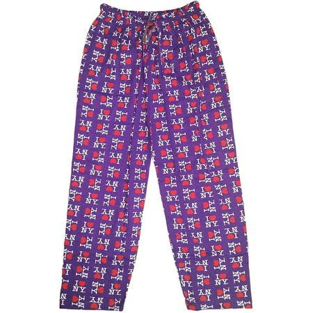 Small I Love Ny Purple Lounge Pants Heart Pajama Novelty Bottoms ()