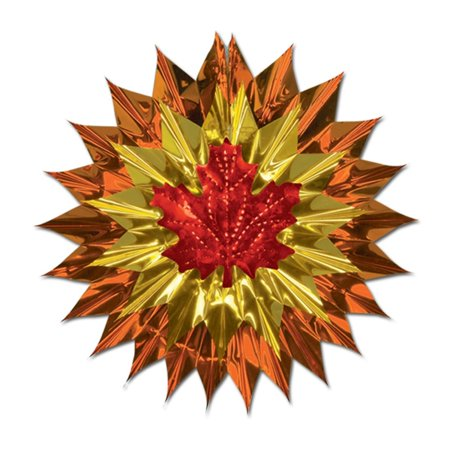 Club Pack of 12 Copper, Gold and Red Fall Leaf Metallic Fan-Burst 15