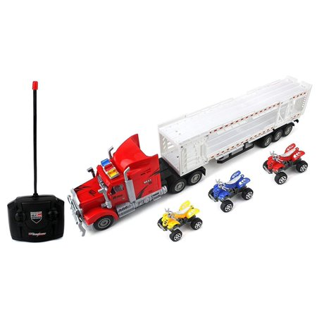 Trailer Remote Control RC Transporter Semi Truck Ready to Run w/ 3 Toy ATVs (Colors May Vary) (Halloween 3 Teaser Trailer)