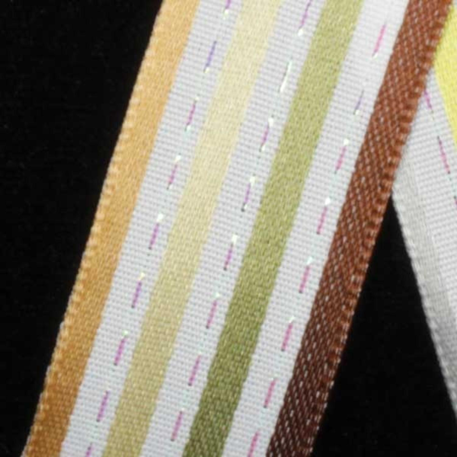 "Stripes and Dashes Beige & Brown Thin Striped Wired Craft Ribbon 7/8"" x 54 Yards"