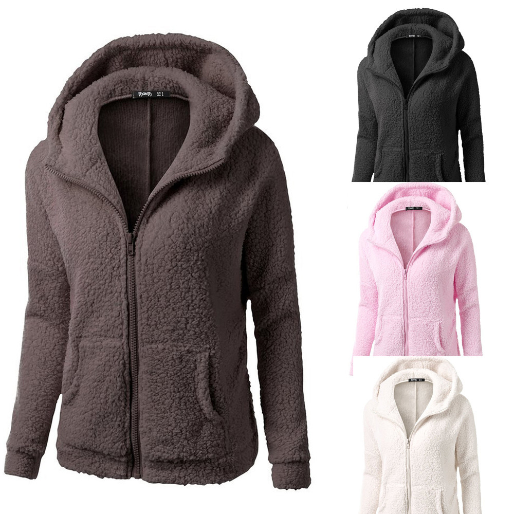 Womail® Women Hooded Sweater Coat Winter Warm Wool Zipper Coat ...