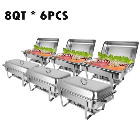 Zimtown Rectangular Chafing Dish 8 Quart Stainless Steel Tray Buffet Catering, Dinner Serving Buffer Warmer Set, Pack of - Chafing Dish Holder