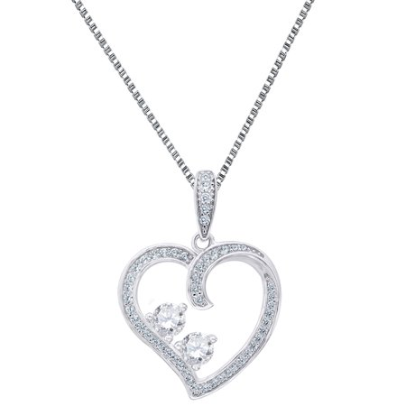 Womens Heart Love Forever Us Pendant 2 Stone Solitaire Round Cut Necklace Free Chain