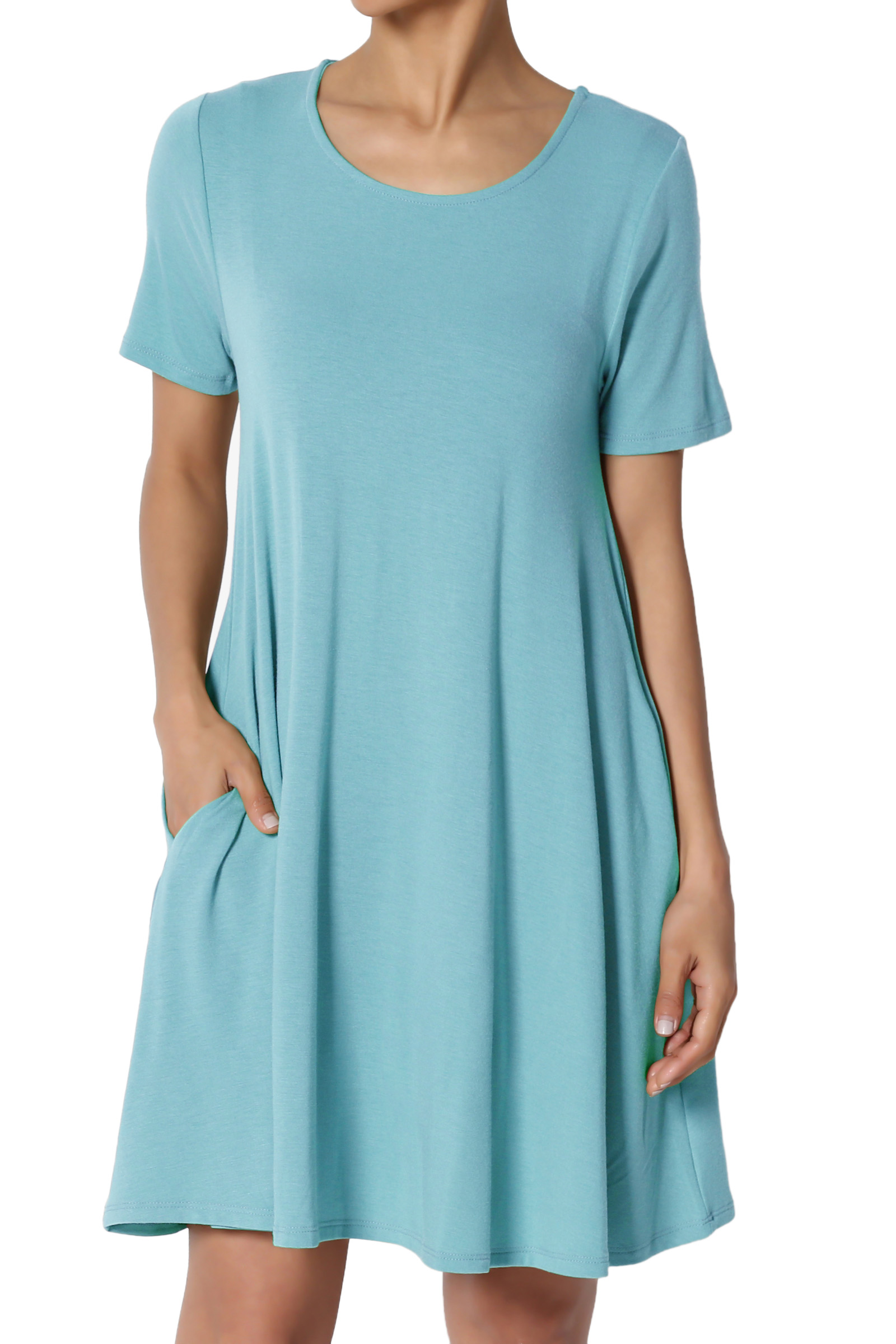 TheMogan Women's S~3X Short Sleeve Round Neck Pocket Flared A-Line Long Tunic Top