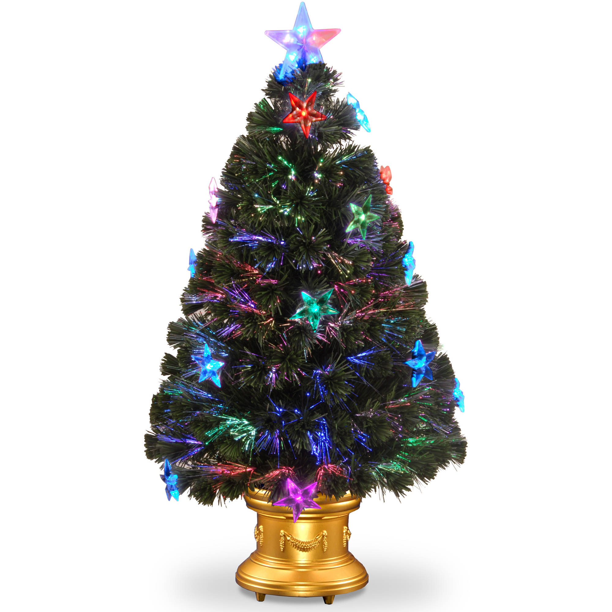 "36"" Fiber Optic Fireworks Tree with Star Decorations"