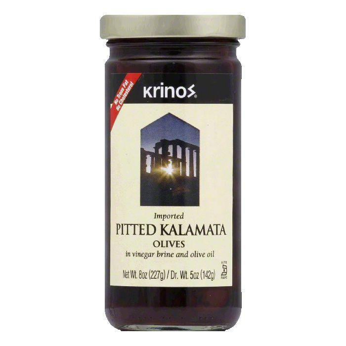 Krinos Kalamata Pitted Olives, 8 OZ (Pack of 6)