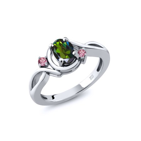 0.88 Ct Oval Green Mystic Topaz Pink Lab Grown Diamond 925 Sterling Silver Ring