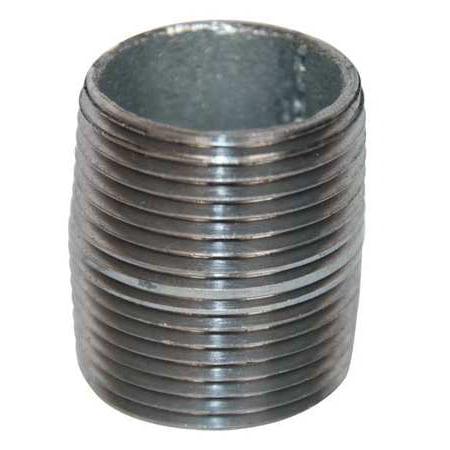 "1/2"" MNPT Threaded Galvanized Steel Close Pipe Nipple, 6P787"