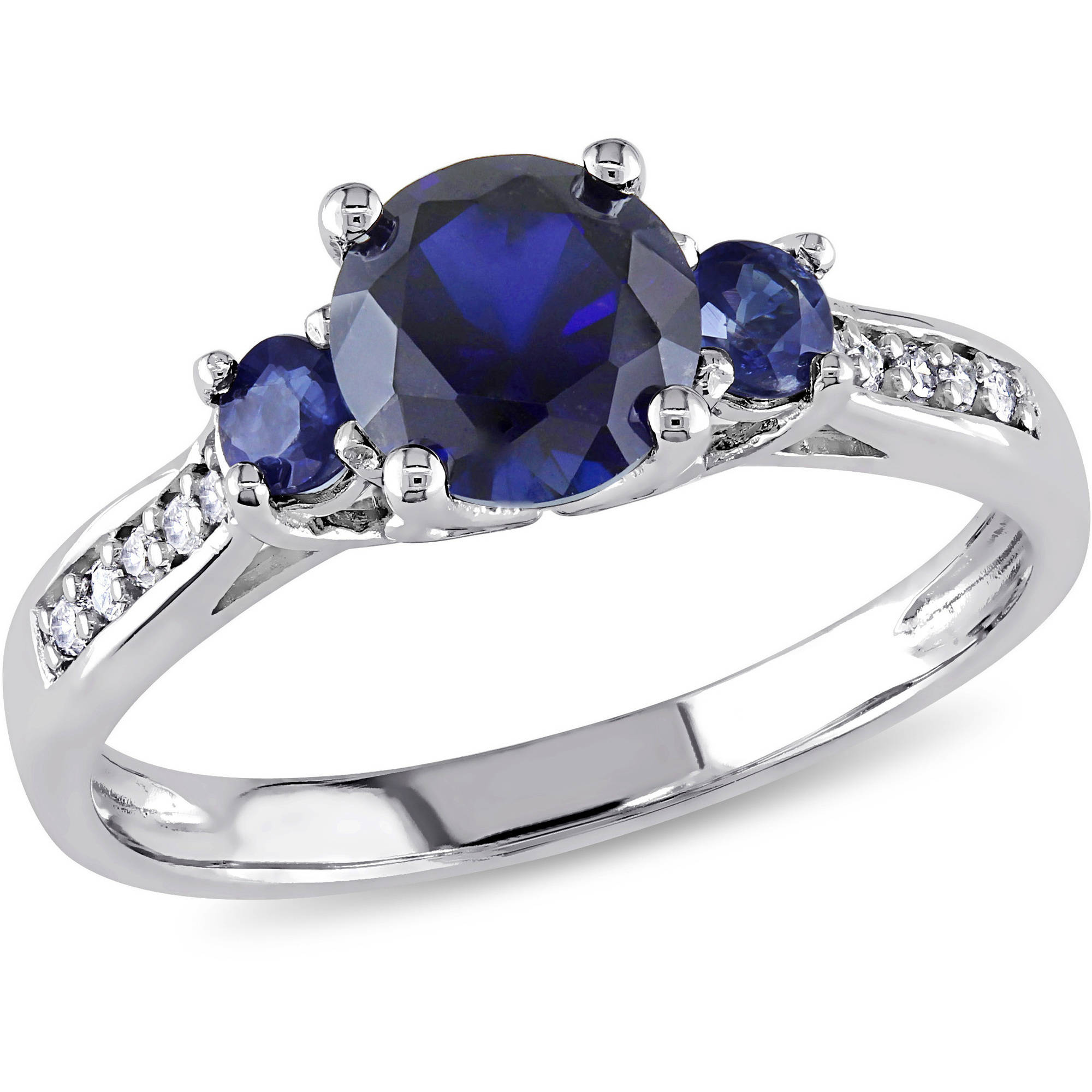 1-1 3 Carat T.G.W. Created Blue Sapphire and Diamond Accent 10kt White Gold Three-Stone Engagement Ring by Generic
