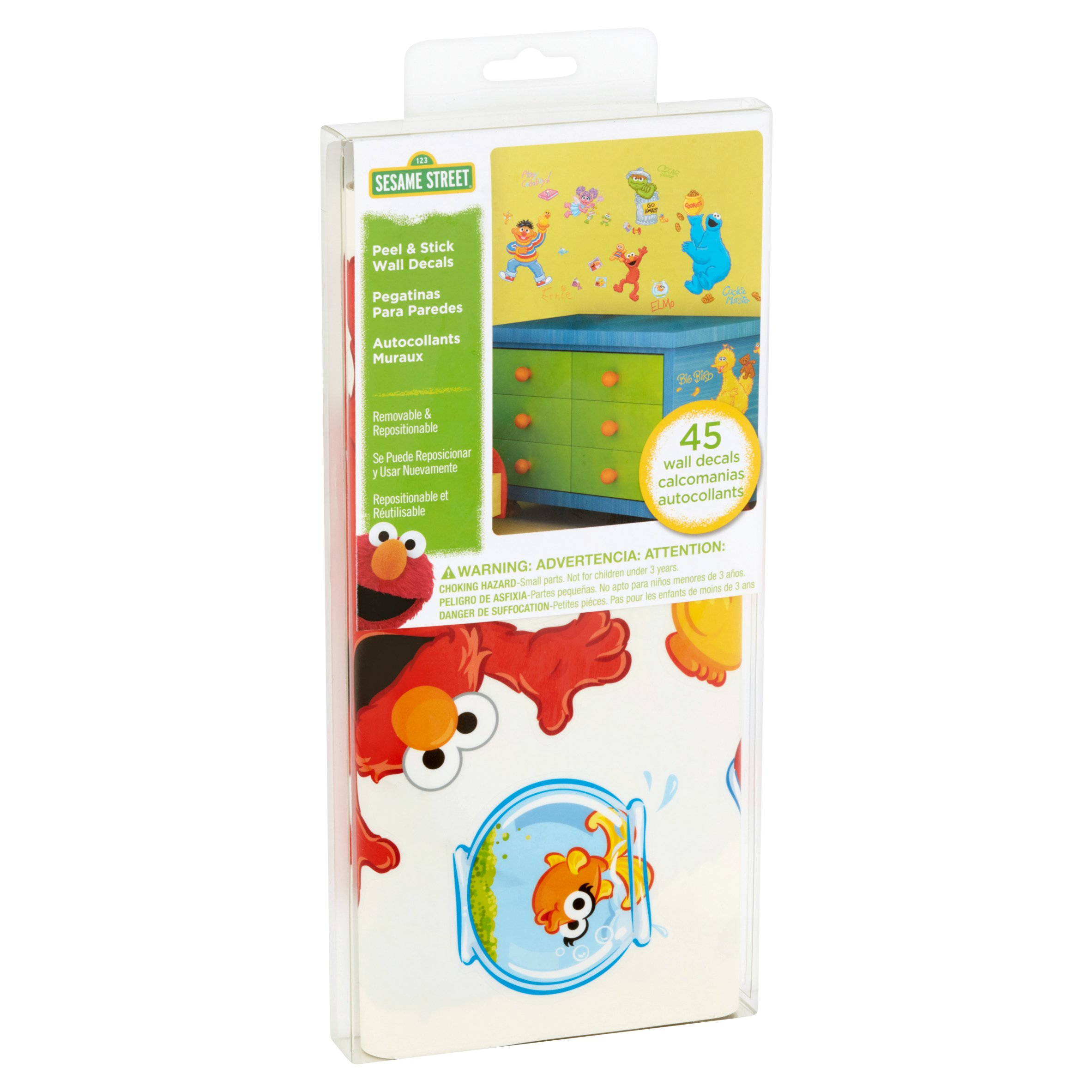 Sesame Street Peel U0026 Stick Wall Decals, 45 Count   Walmart.com