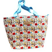 Peanuts Silly Snoopy and the Gang Dog House Pattern White Vinyl Tote Bag by