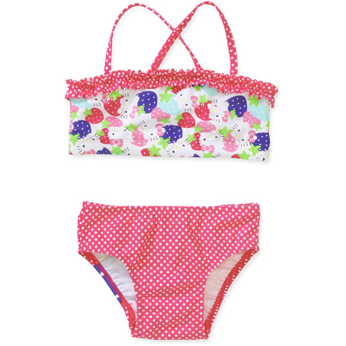 Hello Kitty Baby Girls' 2 Piece Ruffle Dot Bikini