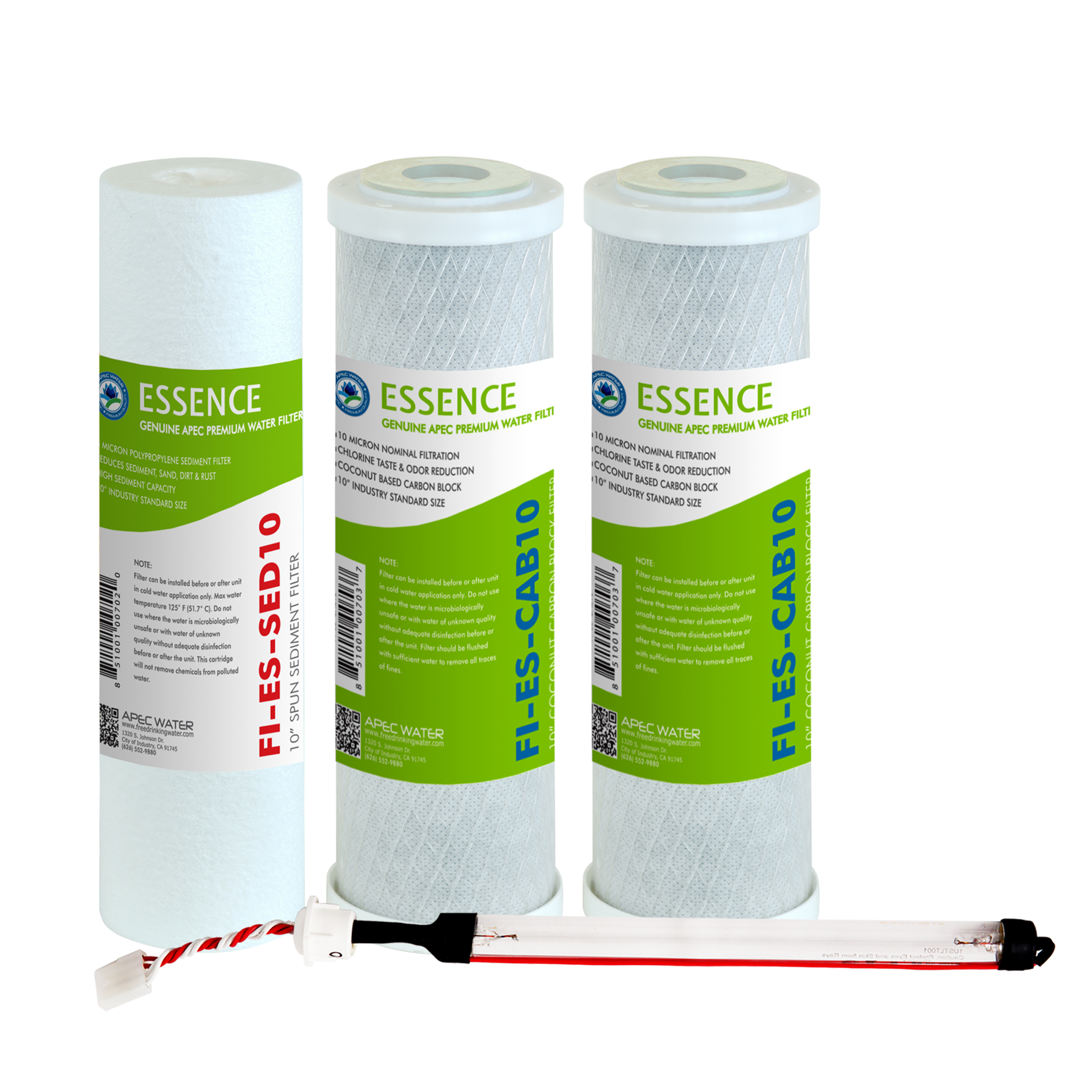 APEC FILTER-SET-ESUV High Capacity Replacement Filter Set for ESSENCE Series UV Ultra Violet Reverse Osmosis Water Filter System Stage 1, 2, 3&5
