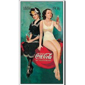 Coke 50th Bathers Tin Sign - 8.5x16