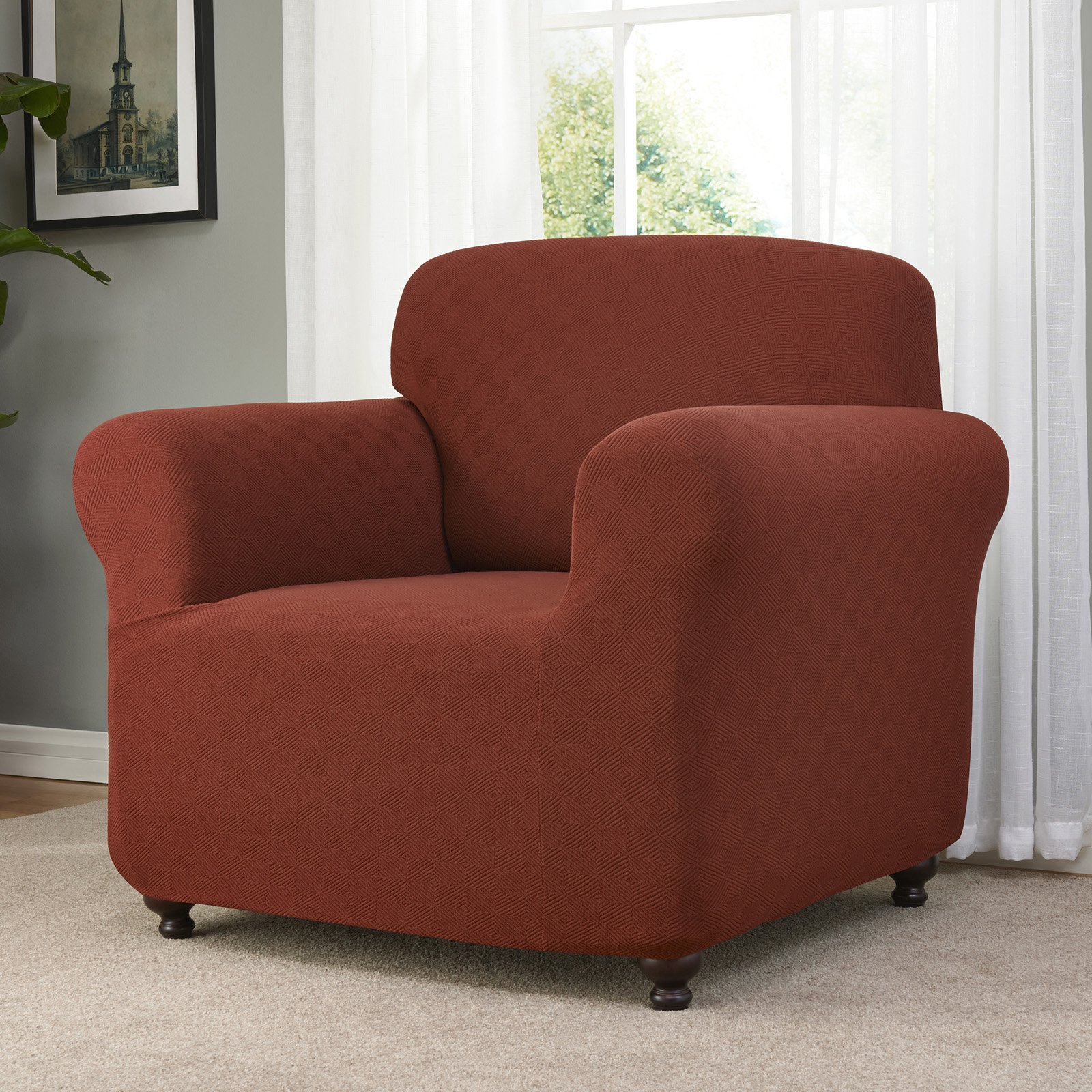 Madison Industries Checkerboard Chair Stretch Slipcover