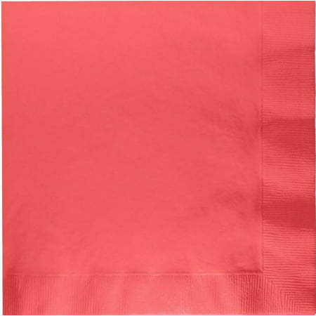 200 -  (4 Pks of 50) 2 Ply Plain Solid Colors Luncheon Dinner Napkins Paper - Coral - Coral Paper Napkins
