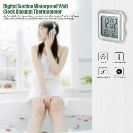 HURRISE Horloge murale d'aspiration, horloge murale de salle de bains, horloge murale numérique de salle de bains imperméable à l'eau murale d'aspiration d'horloge thermomètre hygromètre - image 2 de 9