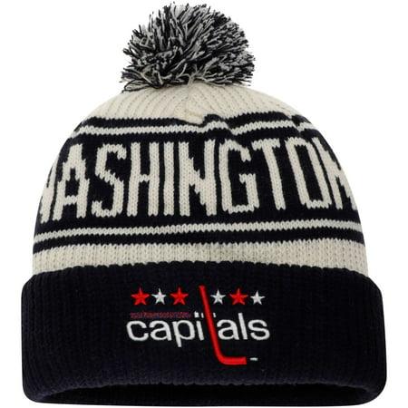 Washington Capitals Fanatics Branded True Classic Z Route Cuffed Knit Hat with Pom - White - OSFA Washington Capitals Merchandise