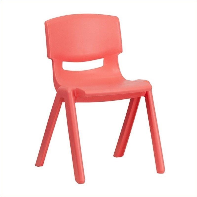 "Flash Furniture Plastic Stackable School Chair in Red-23"" Chair Height"