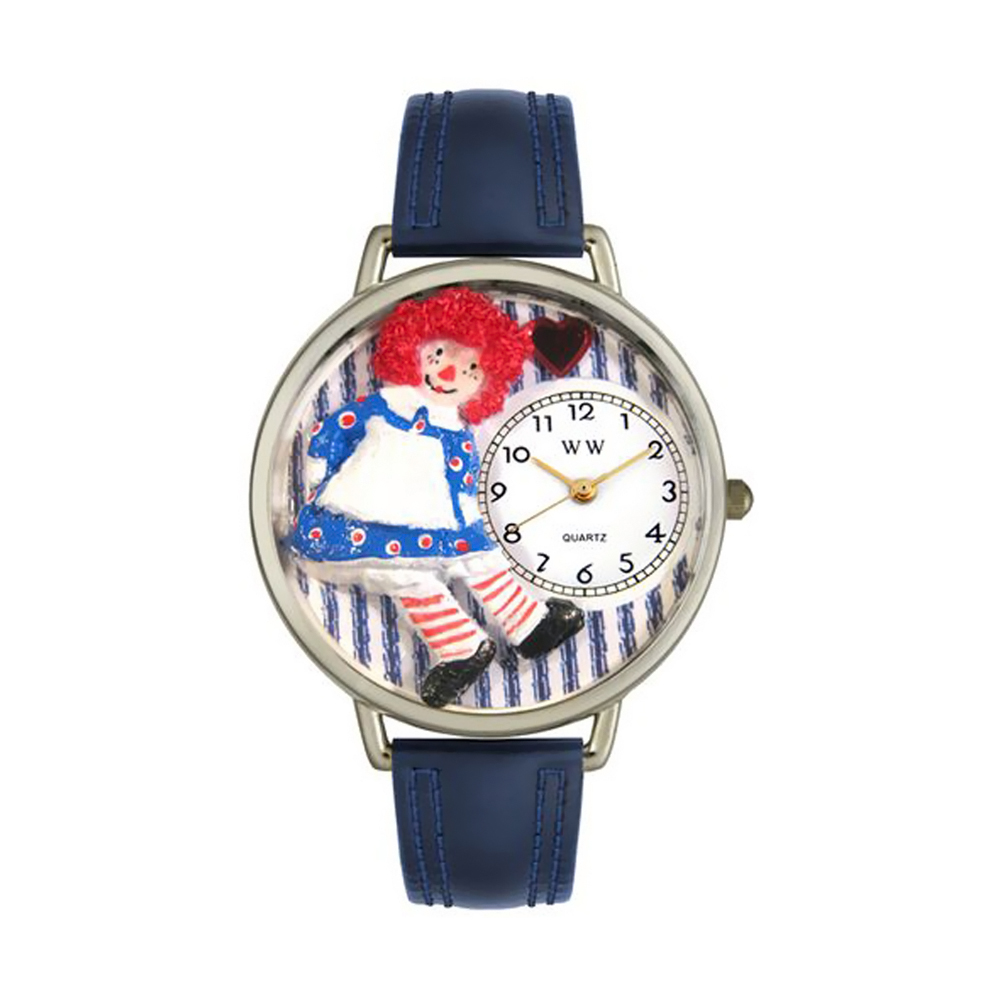 Whimsical Raggedy Ann Navy Blue Leather And Silvertone Watch