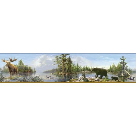 Brewster TLL48541B Carnegie Sky Moose Lake Border Wallpaper (Sky Border)