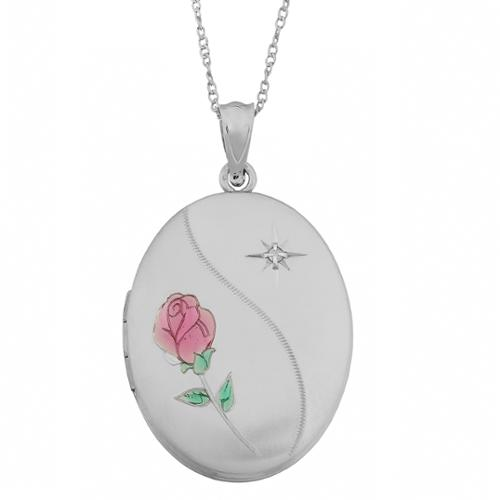 Fremada Rhodium Plated Sterling Silver Rose and Diamond Accent Oval Locket Necklace (18 inch) by Overstock