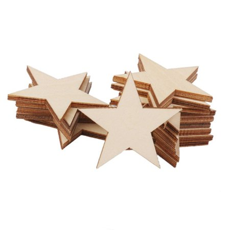 Diy Wooden Table (Mosunx 25pcs Rustic Wooden Pentagram Wedding Table Scatter Decoration DIY Wood)