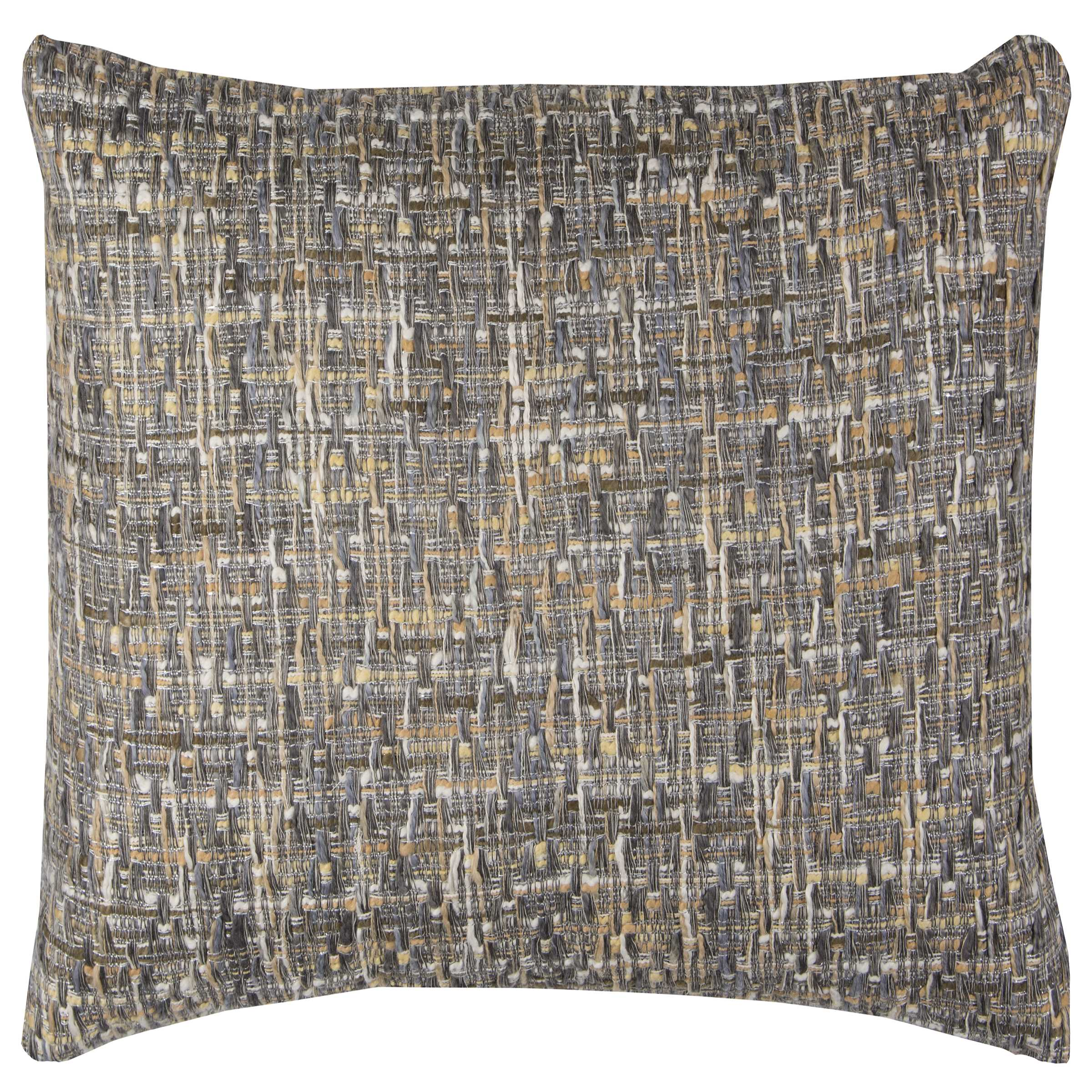 """Rizzy Home Decorative Poly Filled Throw Pillow Heathered 22""""X22"""" Gray"""