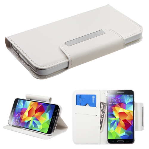 For Galaxy S5 White Book-Style MyJacket Wallet (with card slot)