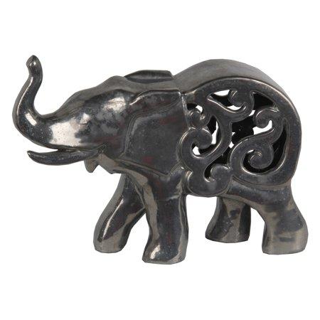 Privilege International Ceramic Elephant Sculpture with Filigree Cutout - Ceramic Elephant