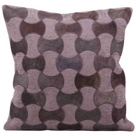 Natural Leather Hide Pillow, M919, Lilac, 20
