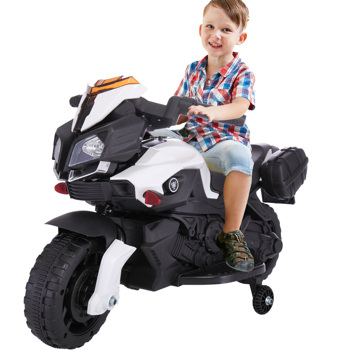Jaxpety 6V Kids Ride On Motorcycle Battery Powered 4 Wheel Car Bicycle Electric Toy New White