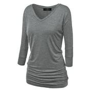 Made by Johnny WT1036 Womens V Neck 3/4 Sleeve Dolman Top With Side Shirring XXXXL Heather_Dark_Grey