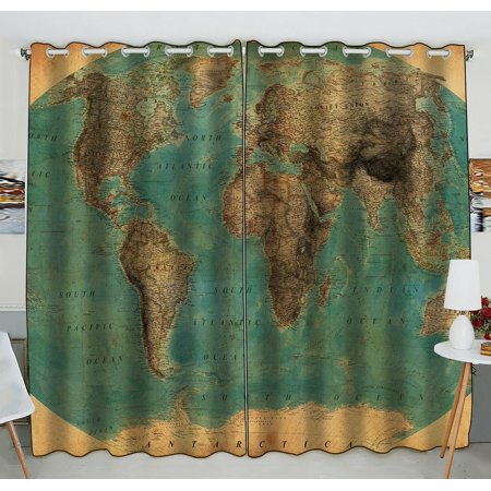 GCKG Vintage Style World Map Pattern Blackout Curtains Window treatment Panel Drapes 52(W)x84(H) inches (One Piece) - image 4 de 4
