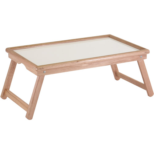 Basic Lap Table/Bed Tray, White Melamine And Beechwood