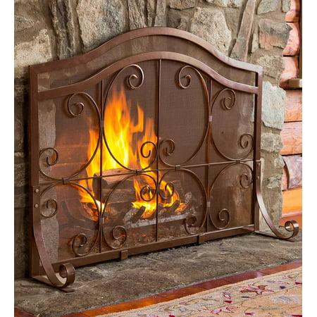 Small Crest Flat Guard Fireplace Fire Screen, Copper ()
