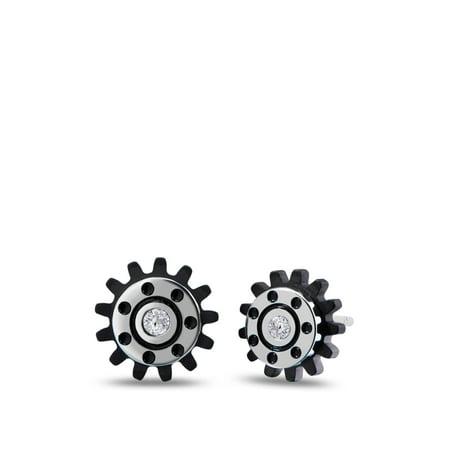 Simon Pagenaud - Spur Gear Diamond Ceramic Stud Earrings In Stainless