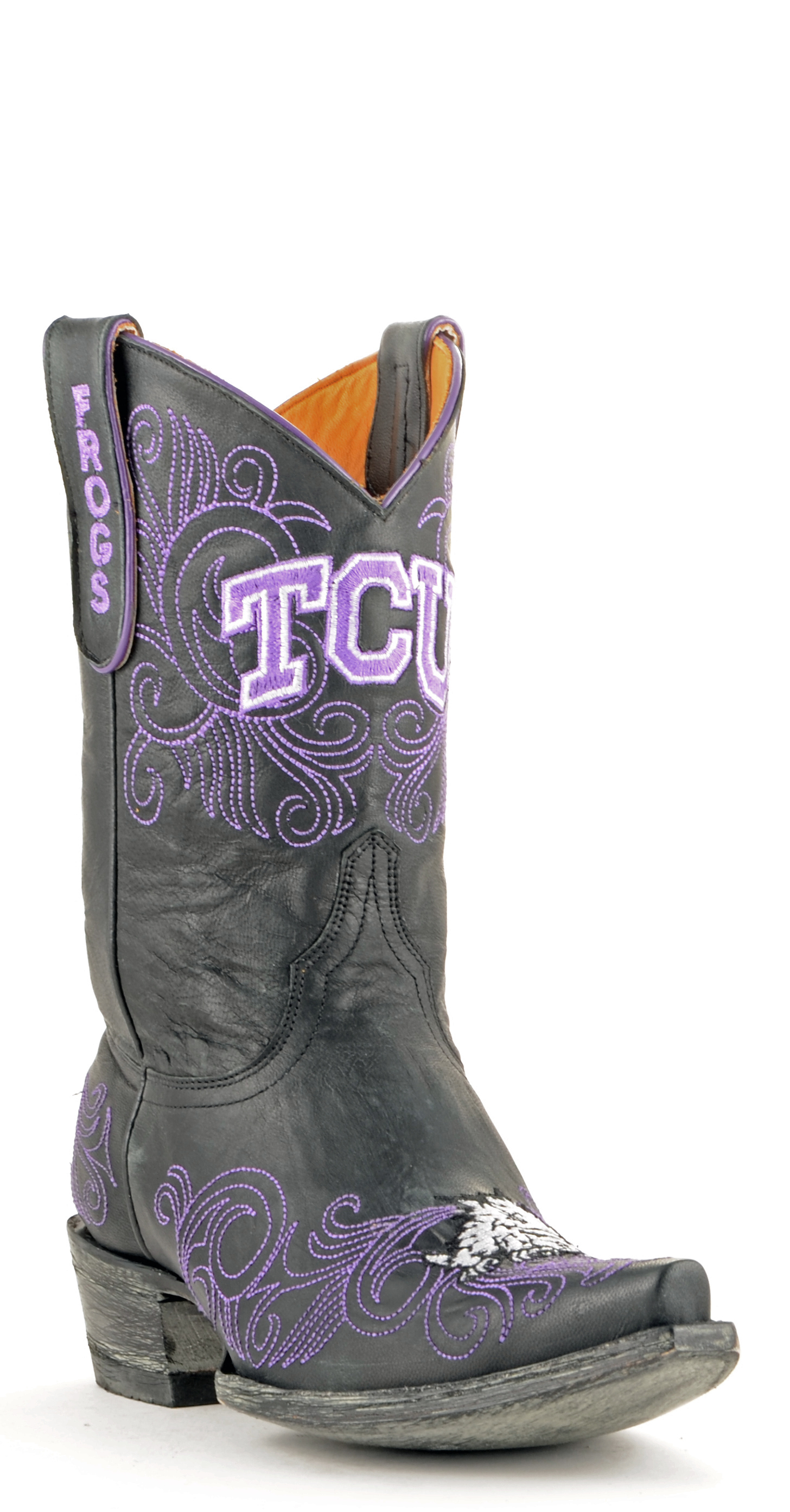 "Women's Black TCU Horned Frogs 10"" Embroidered Boots by GameDay Boots"