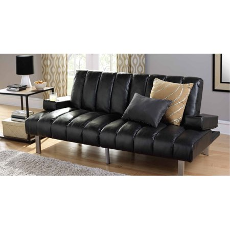 Mainstays Theater Futon with Armrests & Cupholders Vinyl Futon Sofa