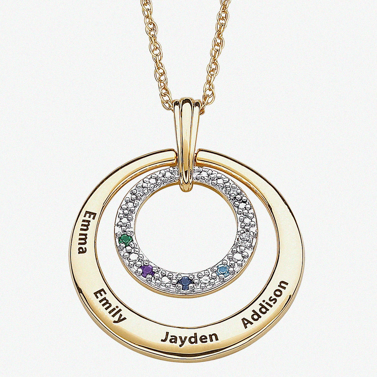 """Personalized Birthstone and Diamond Accent 14kt Gold over Brass Family Name Circle Pendant, 20"""""""