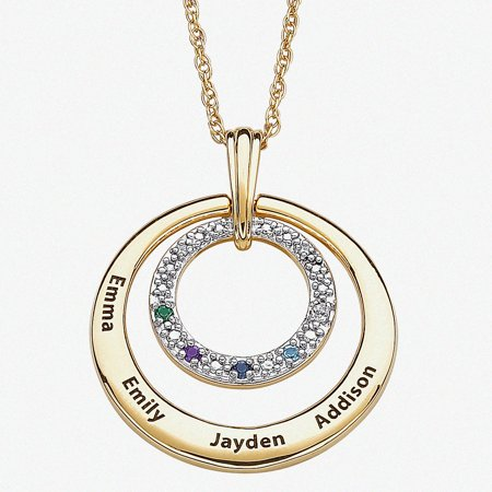 - Family Jewelry Personalized Mother's Birthstone and Diamond Accent 14kt Gold -Tone Name Circle Pendant, 20