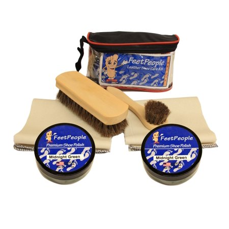 FeetPeople Deluxe Leather Care Kit with Travel Bag, Midnight -