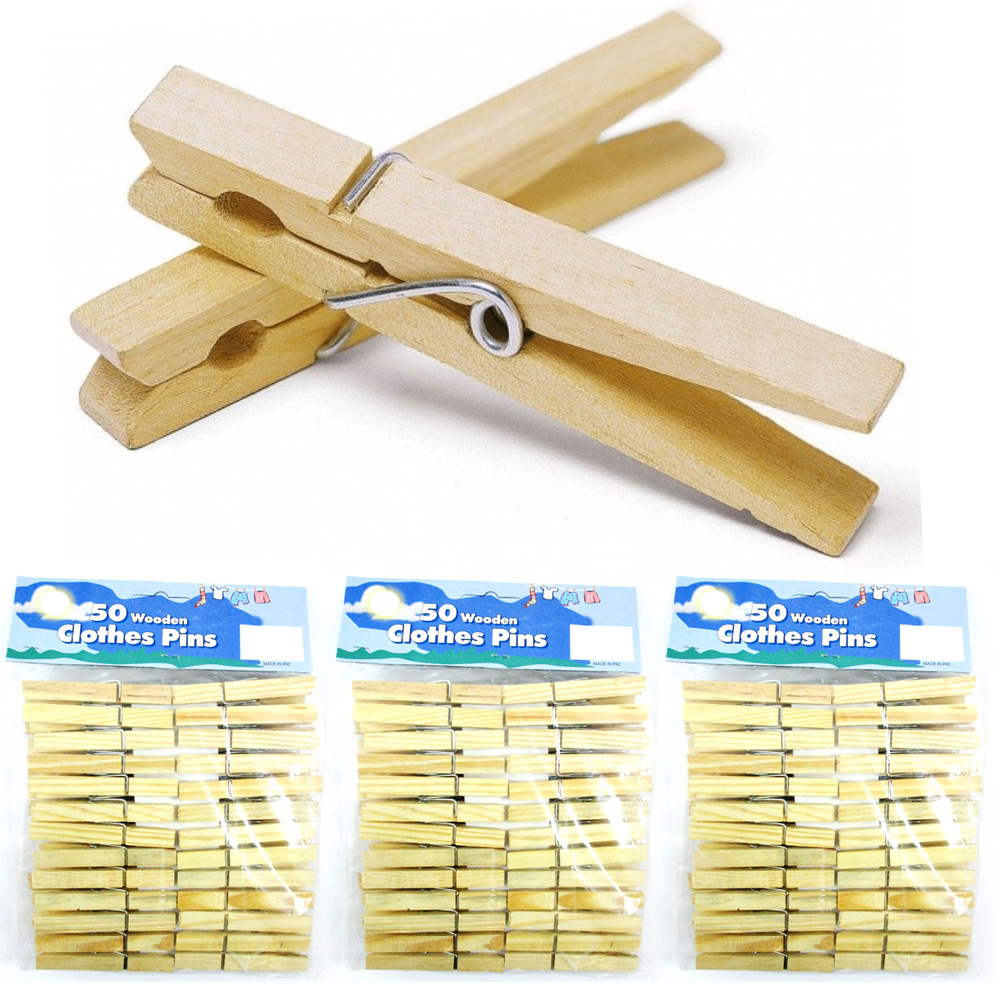 "Lot Of 150 Wood Clothes Pins Laundry Wooden 2 3/4"" Inch Clothespins Crafts Toys"