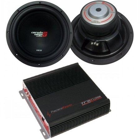 CERWIN VEGA XED12 XED 1000 Watts Max 12-Inch SVC Woofer 4 Ohms Percision Power TRAX1.1200D Class A/B Mono 1,200 WATTS Subwoofer AMP