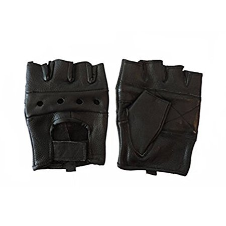Leather Motorcycle Padded Fingerless Gloves (XL, Black)