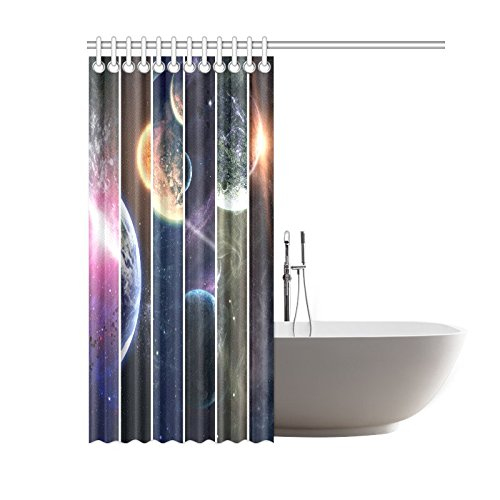 GCKG Cosmic Landscape Shower Curtain, Solar System Space Planet Polyester Fabric Shower Curtain Bathroom Sets with Hooks 60x72 Inches - image 1 de 3