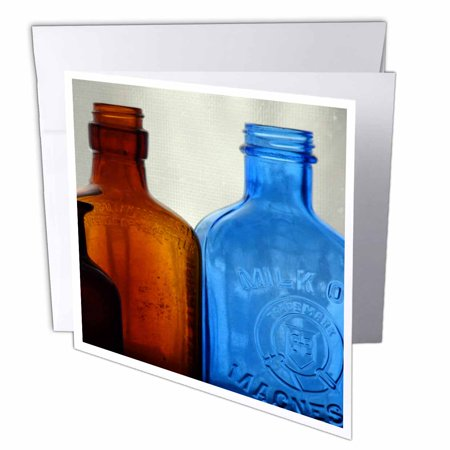 3dRose Vintage Bottles, Greeting Card, 6 x 6 inches, single